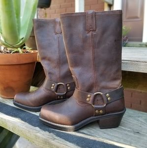 Real Leather Brown Harness-strap Boots